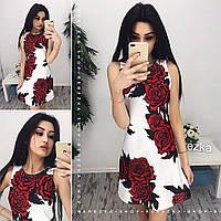 Молодежное платье трапеция с розами