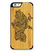 Деревянный чехол с гравировкой для Apple iPhone 6 Wooden Bamboo Case Украина