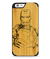 Дерев'яний чохол з гравіюванням для Apple iPhone 6 Wooden Bamboo Case Ironman