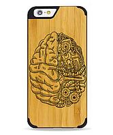 Деревянный чехол с гравировкой для Apple iPhone 6 Wooden Bamboo Case Brain