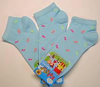 Носки летние для девочек голубого цвета в цветные ноты