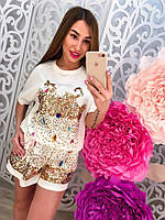 Летний женский трикотажный костюм комплект шортами с вышивкой, камнями и паетками тренд 2017!!!