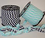 Косая бейка из хлопка в светло-бирюзовую полоску 5 мм для окантовки, фото 3