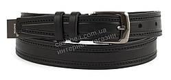 Мужской кожаный прочный подростковый ремень черного цвета 3см (100996)