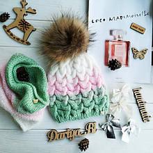 Чудесные вязаные шапка и снуд из белорусской пряжи Ареола Акрил №12