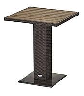 Садовый квадратный стол коричневый из алюминия и искусственно ротанга