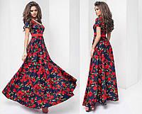 Женское летнее длинное платье с юбкой клёш в разных цветах