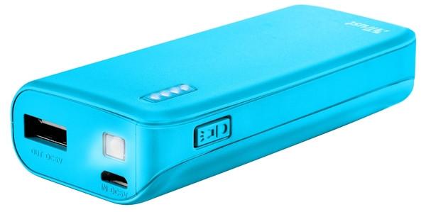 Портативное зарядное устройство Trust Primo 4400 neon blue (внешняя зарядка для телефона)