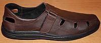 Мужские летние туфли коричневые кожаные на липучке, кожаная обувь мужская от производителя модель АМТ20КЛ