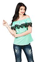 Роскошная блуза с воланом Ажур с открытыми плечами p.42-46 C103-3