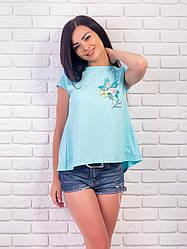 """Женская футболка свободного кроя, с разрезом на спине """"Фламинго"""""""