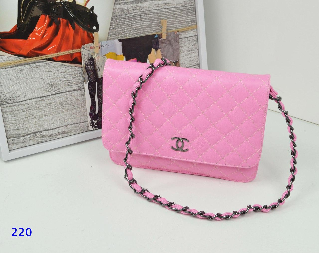 Сумочка-клатч в стиле Шанель розовая