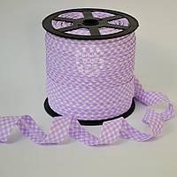 Косая бейка из хлопка в светло-фиолетовую клеточку для окантовки