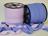 Косая бейка из хлопка в светло-фиолетовую клеточку для окантовки , фото 3