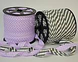 Косая бейка из хлопка в светло-фиолетовую клеточку для окантовки , фото 4