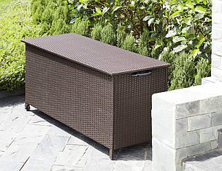 Садовый ящик на колесиках коричневый из искусственного ротанга