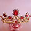 Корона и серьги набор РУБИНА красная диадема Тиара бижутерия, фото 3