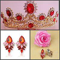 Корона и серьги набор РУБИНА красная диадема Тиара