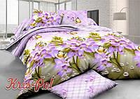 """Комплект постельного белья Евро двуспальный, п/э 3D """"Лиловые цветы"""""""