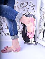 Женские босоножки Пудра + бантик 36 37 38 39