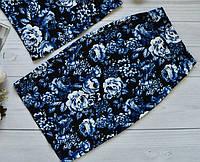 Стильная женская юбка миди за колено принт синие розы на черном