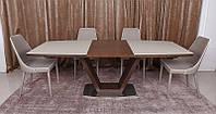 Современныйобеденный раскладной стол Detroit(Детройт), цветвенге-крем, столешница МДФ, каленое стекло