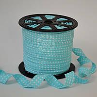 Косая бейка из хлопка для окантовки с белым горошком 2 мм  на светло-бирюзовом фоне