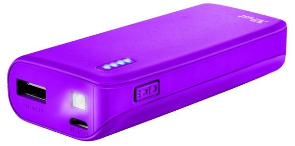 Портативное зарядное устройство Trust Primo 4400 neon purple (внешняя зарядка для телефона)