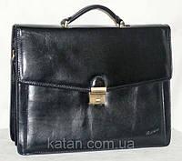 Портфель из натуральной кожи черный Катана 68133