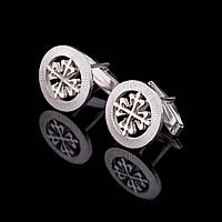 Серебряные запонки с узором (родий)