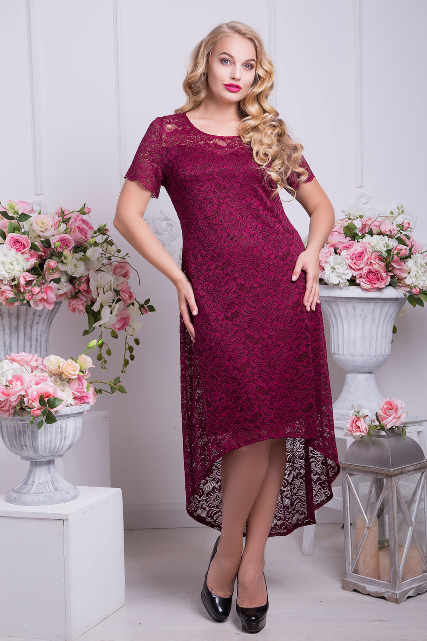 Платье из гипюра со шлейфом 50-52