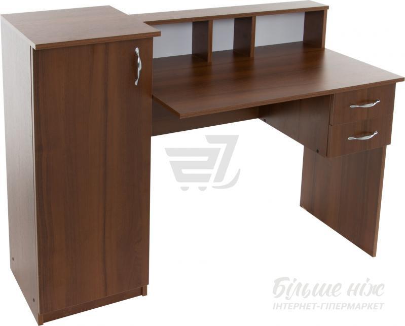 стол письменный темный орех с боковыми ящиками и выдвижными полками
