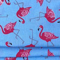 """Ткань """"фламинго на голубом"""""""