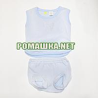Детский летний костюм р. 56-62 для новорожденного ткань МУЛЬТИРИПП 100% хлопок ТМ Ромашка 3723 Голубой