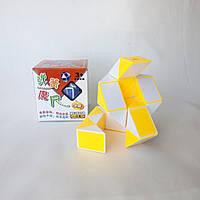 Змейка Рубика желто-белая Shengshou, пружинный механизм