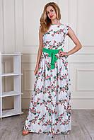Принтованное цветочное длинное платье в пол с коротким рукавом размер 44-46, 48-50