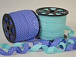 Косая бейка из хлопка с белым горошком 2 мм на темно-голубом фоне, фото 3