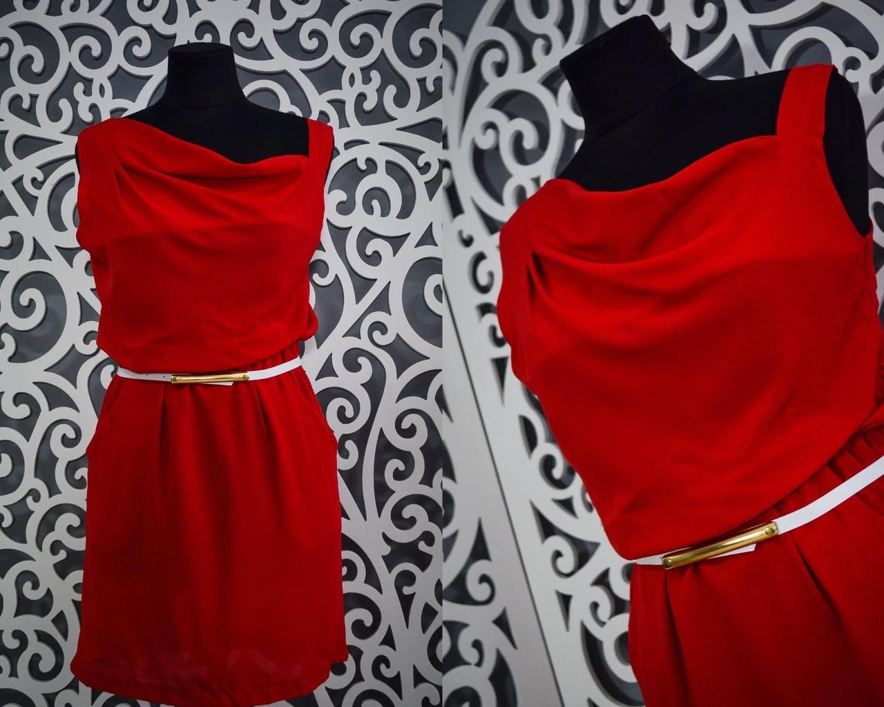"""Легкое женское платье  """"шифон"""" Красное 42 размер норма"""