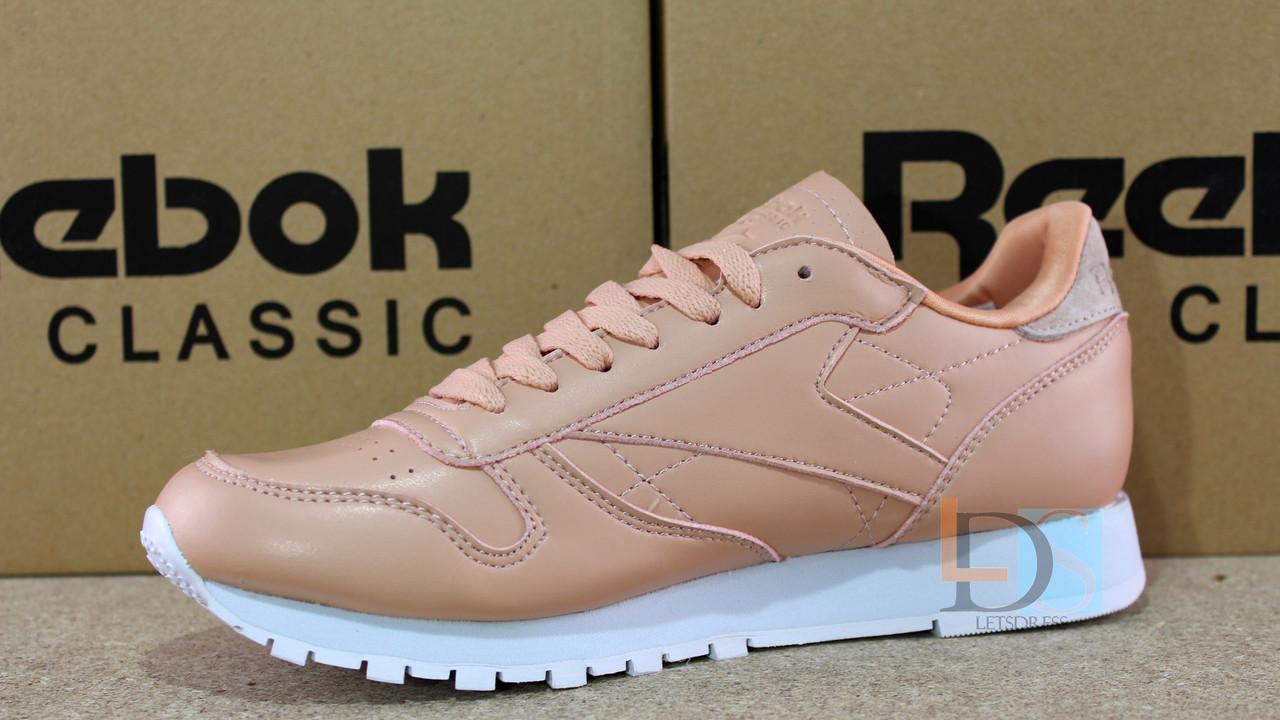 Оригинальные Reebok Classic Leather NT Rose Cloud White женские кроссовки  Рибок розовые кожаные, ... d35eefe5388