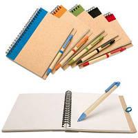 Блокнот А5 с ручкой из эко материалов под нанесение логотипа