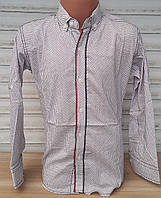Стильная стрейчевая рубашка для мальчика 6-14 лет(опт)(бежевый) (пр. Турция)
