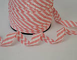 Косая бейка из хлопка с бледно-розовой полоской 5 мм для окантовки, фото 2