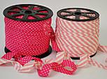 Косая бейка из хлопка с бледно-розовой полоской 5 мм для окантовки, фото 5