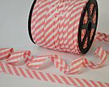 Косая бейка из хлопка с бледно-розовой полоской 5 мм для окантовки, фото 3