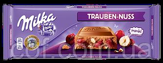 Шоколад молочный Milka Trauben Nuss (Милка с изюмом и лесными орехами) 300г (Швейцария)