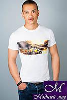 Мужская белая футболка с принтом (р. 44-52) арт. 307