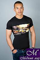 Мужская черная футболка с принтом (р. 44-52) арт. 308