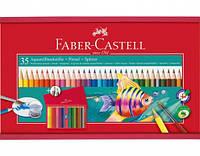 Цветные карандаши Faber-Castell 35 цв. акварельные+кисточка+точилка деревянная коробка 114415