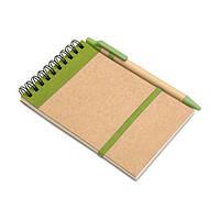 Блокнот А6 с ручкой из эко материалов под нанесение логотипа