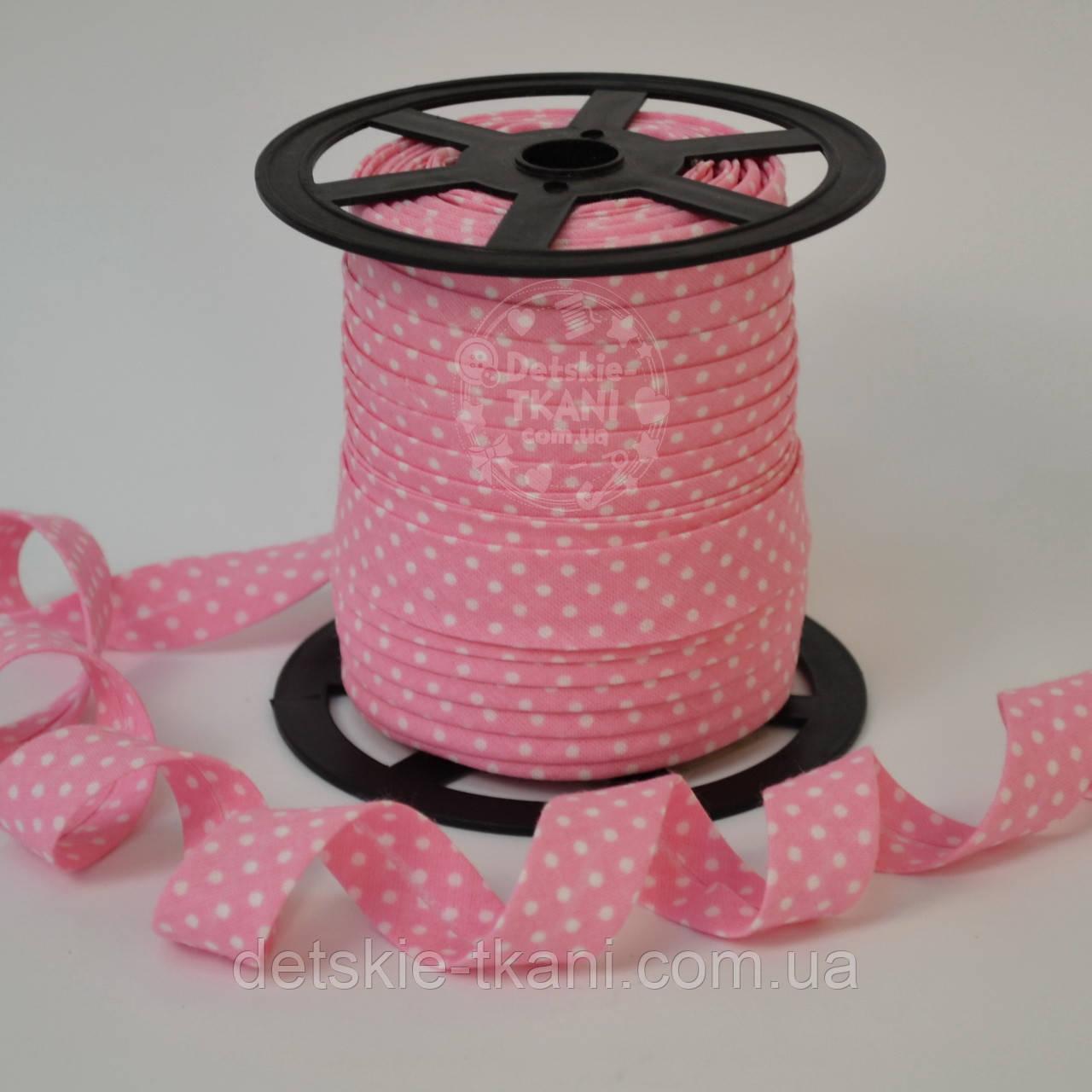 Косая бейка из хлопка для окантовки с белым горошком 2 мм на тёмно розовом фоне